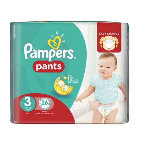 Pampers - Pack 26 Couches Baby Dry Pants taille 3 sur Les Couches