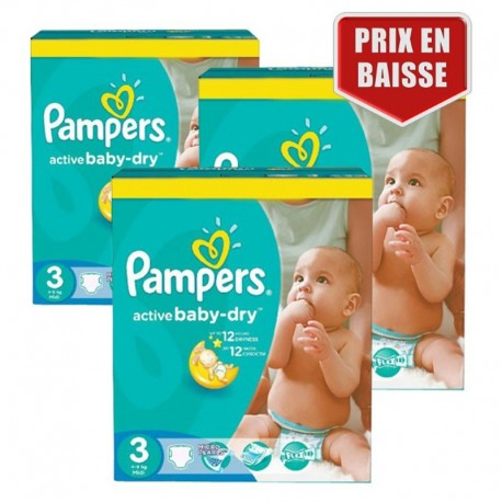 Pampers - Mega Pack 432 Couches Active Baby Dry taille 3 sur Les Couches