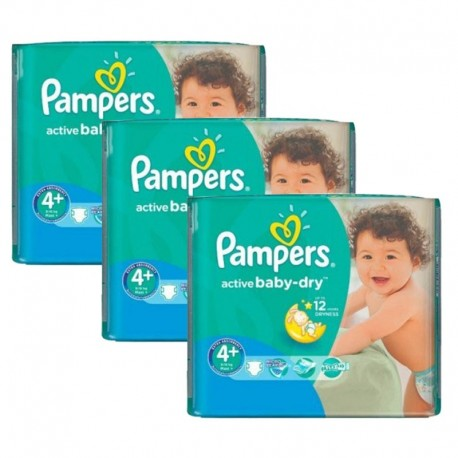 Pampers - Giga Pack 192 Couches Active Baby Dry taille 4+ sur Les Couches