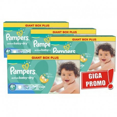 Pampers - Mega Pack 576 Couches Active Baby Dry taille 4+ sur Les Couches