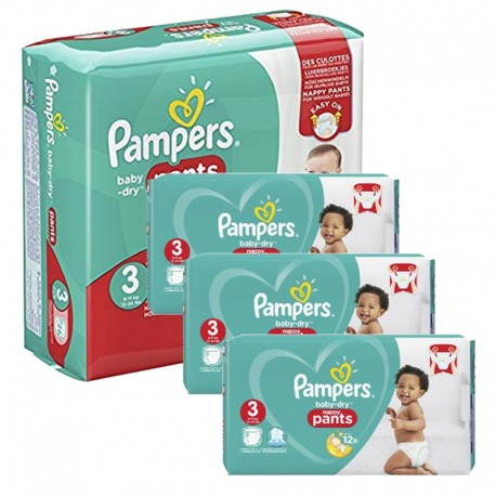 Pampers - Mega Pack 390 Couches Baby Dry Pants taille 3 sur Les Couches