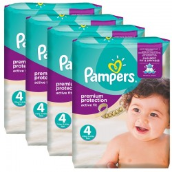 Pampers - Maxi Pack 336 Couches Active Fit - Premium Protection taille 4