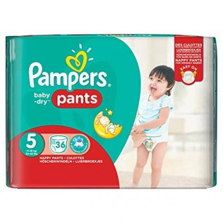 Pampers - Pack 36 Couches Baby Dry Pants taille 5 sur Les Couches