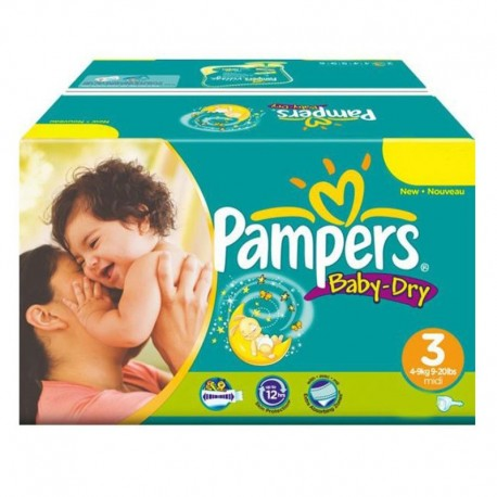 Pampers - Mega Pack 374 Couches Baby Dry taille 3 sur Les Couches