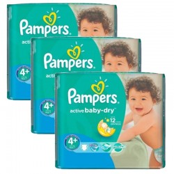 Pampers - Mega Pack 140 Couches Active Baby Dry taille 4+ sur Les Couches
