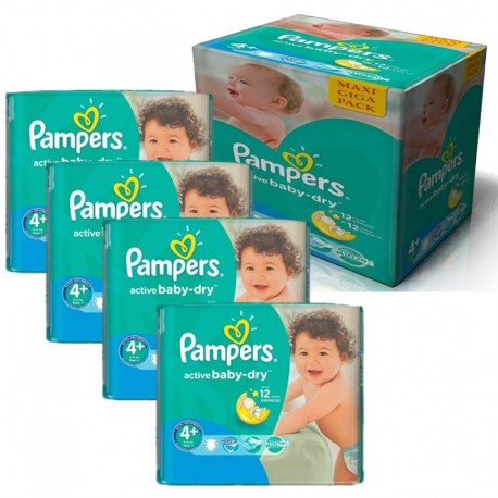 Pampers - Maxi Pack 350 Couches Active Baby Dry taille 4+ sur Les Couches