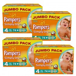 Pampers - Pack 220 Couches Simply Dry taille 4 sur Les Couches