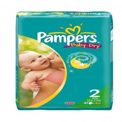 Pampers - 41 Couches Baby Dry taille 2 sur Les Couches