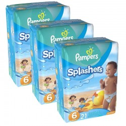 Pampers - Mega Pack 63 Couches Swimming Pants Splachers sur Les Couches