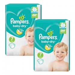 Pampers - Maxi Pack 144 Couches Baby Dry taille 7 sur Les Couches