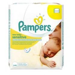Pampers - 56 Lingettes Bébés New Baby Sensitive sur Les Couches