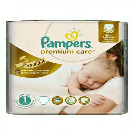 Pampers - Pack 88 Couches Premium Care taille 1 sur Les Couches