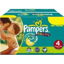 Pampers - Giga pack 205 Couches Baby Dry taille 4+ sur Les Couches