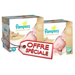 Pampers - Pack jumeaux 528 Couches Premium Care taille 1 sur Les Couches