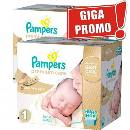 Pampers - Pack jumeaux 616 Couches Premium Care taille 1 sur Les Couches
