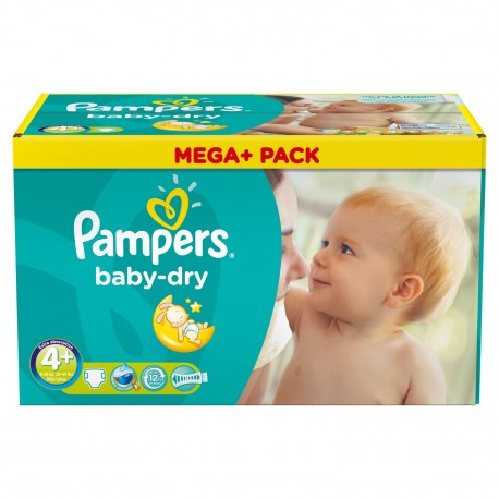 Pampers - Mega pack 164 Couches Baby Dry taille 4+ sur Les Couches