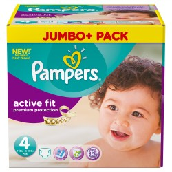 Pampers - Giga pack 246 Couches Active Fit Premium Protection taille 4 sur Les Couches