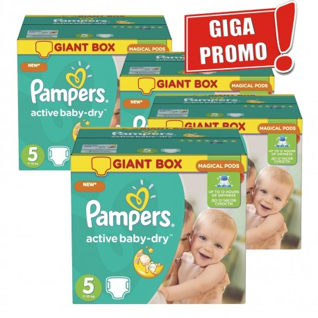 Pampers - Giga pack 290 Couches Active Baby Dry sur Les Couches