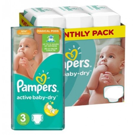 Pampers - Mega pack 164 Couches Active Baby Dry taille 3 sur Les Couches
