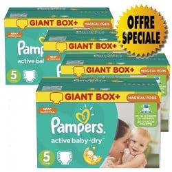 Pampers - Maxi mega pack 420 Couches Active Baby Dry taille 5 sur Les Couches