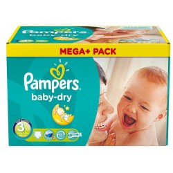 Pampers - Maxi mega pack 464 Couches Baby Dry taille 3 sur Les Couches