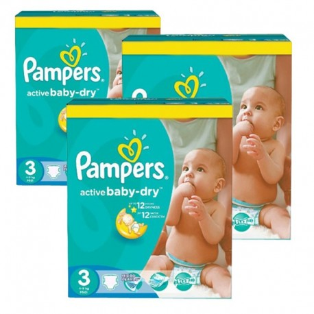 Pampers - Mega pack 195 Couches Active Baby Dry taille 3 sur Les Couches
