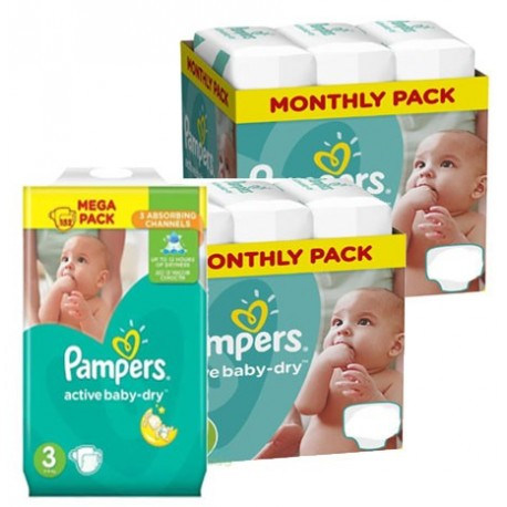 Pampers - Giga pack 210 Couches Active Baby Dry taille 3 sur Les Couches