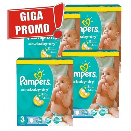 Pampers - Giga pack 225 Couches Active Baby Dry taille 3 sur Les Couches