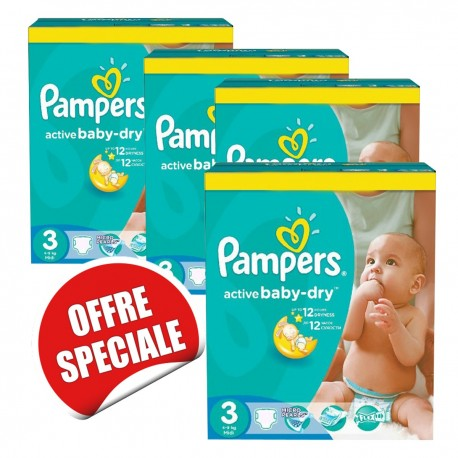Pampers - Giga pack 255 Couches Active Baby Dry taille 3 sur Les Couches