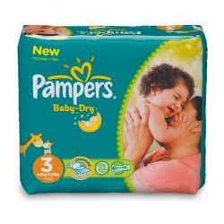 Pampers - Pack 30 Couches Baby Dry taille 3 sur Les Couches