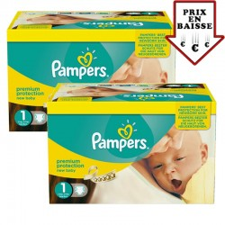 Pampers - Maxi giga pack 352 Couches Premium Protection taille 1 sur Les Couches