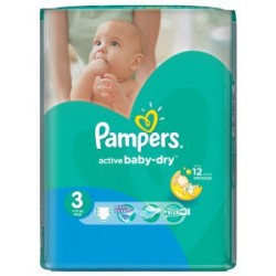 Pampers - Mega pack 124 Couches Active Baby Dry taille 3 sur Les Couches