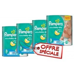 Pampers - Pack jumeaux 744 Couches Active Baby Dry taille 3 sur Les Couches