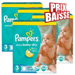 Pampers - Pack jumeaux 992 Couches Active Baby Dry taille 3 sur Les Couches