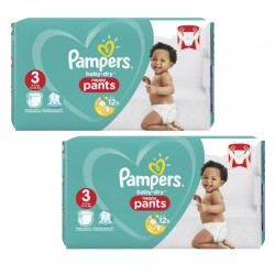 Pampers - Pack 76 Couches Baby Dry Pants taille 3 sur Les Couches