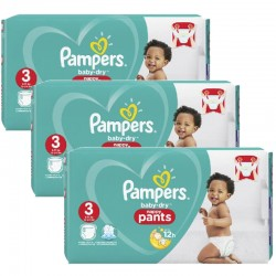 Pampers - Giga pack 285 Couches Baby Dry Pants taille 3 sur Les Couches