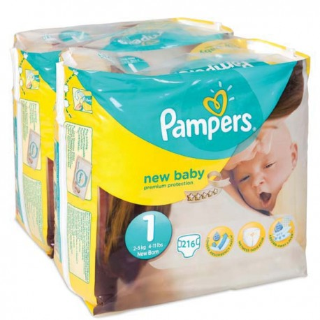 Pampers - Maxi mega pack 448 Couches Premium Protection taille 1 sur Les Couches