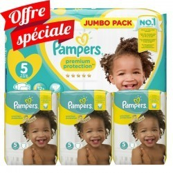 Pampers - Pack jumeaux 748 Couches Premium Protection taille 5 sur Les Couches