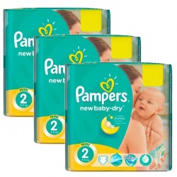 Pampers - Giga pack 204 Couches New Baby Dry taille 2 sur Les Couches