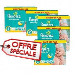 Pampers - Maxi mega pack 476 Couches New Baby Dry taille 2 sur Les Couches