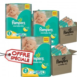 Pampers - Pack jumeaux 544 Couches New Baby Dry taille 2 sur Les Couches
