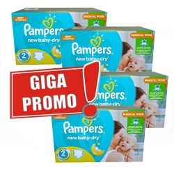 Pampers - Pack jumeaux 748 Couches New Baby Dry taille 2 sur Les Couches