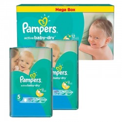 Pampers - Mega pack 168 Couches Active Baby Dry taille 5 sur Les Couches