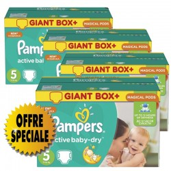 Pampers - Maxi giga pack 378 Couches Active Baby Dry taille 5 sur Les Couches