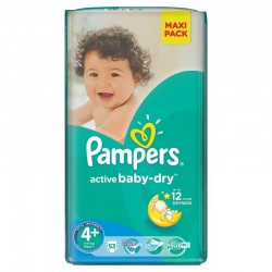 Pampers - Pack 58 Couches Active Baby Dry taille 4+ sur Les Couches