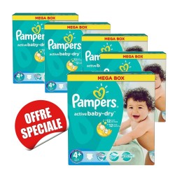 Pampers - Mega pack 116 Couches Active Baby Dry taille 4+ sur Les Couches