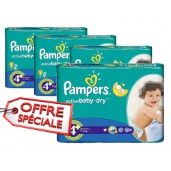 Pampers - Giga pack 232 Couches Active Baby Dry taille 4+ sur Les Couches