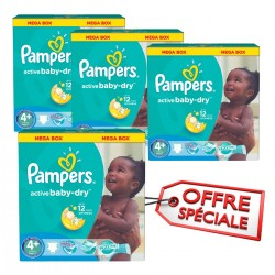 Pampers - Maxi giga pack 348 Couches Active Baby Dry taille 4+ sur Les Couches