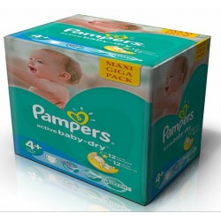 Pampers - Maxi mega pack 406 Couches Active Baby Dry taille 4+ sur Les Couches