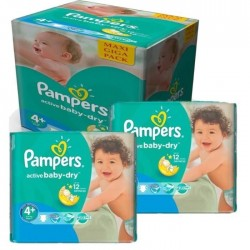 Pampers - Maxi mega pack 464 Couches Active Baby Dry taille 4+ sur Les Couches